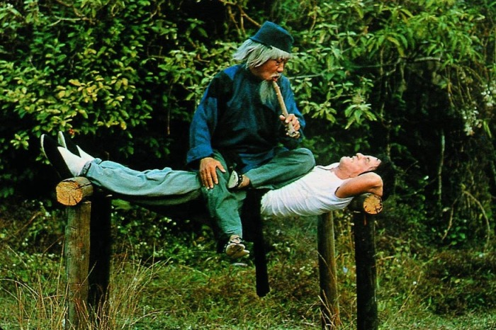 "Chien Fu (Jackie Chan) undergoing harsh kung-fu training under Master Pai Cheng-Tien (Yuen Siu-Tien) in the 1978 film, ""Snake in the Eagle's Shadow."""